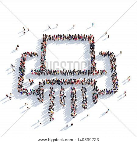 Large and creative group of people gathered together in the shape of a paper shredder. 3D illustration, isolated against a white background. 3D-rendering.