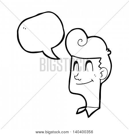 freehand drawn speech bubble cartoon smiling man