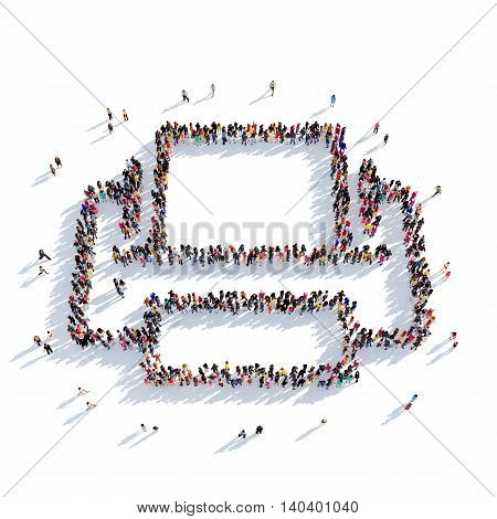 Large and creative group of people gathered together in the shape of a printer. 3D illustration, isolated against a white background. 3D-rendering.