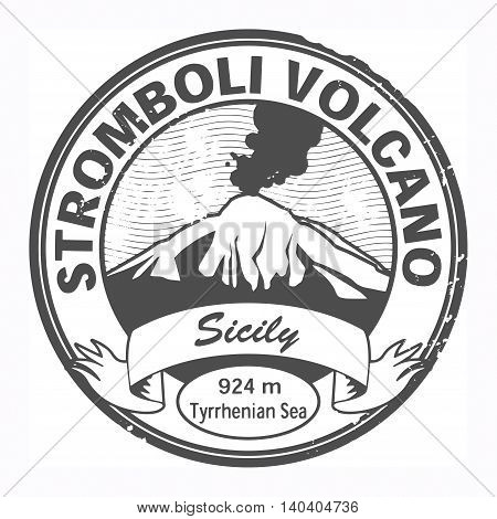 Grunge black stamp with words Stromboli Volcano, Sicily, vector illustration