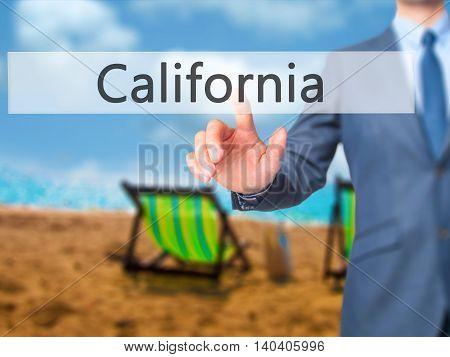 California -  Businessman Click On Virtual Touchscreen.