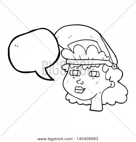freehand drawn freehand drawn freehand drawn speech bubble cartoon woman with welding mask