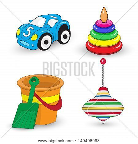 Cartoon children's toys set whirligig pail and shovel car pyramid. Vector illustration