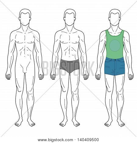 Fashion man outlined template full length front figure silhouette in shorts & brief underpants vector illustration isolated on white background