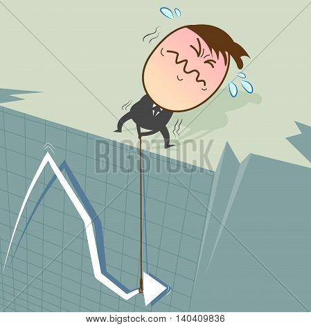 When stocks fall on the curve it will plummet from a high cliff. Businessman trying to find a way to make the stock has increased.