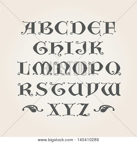 Gothic Initials. Capital latin A-Z letters in vector. Decorative Alphabet