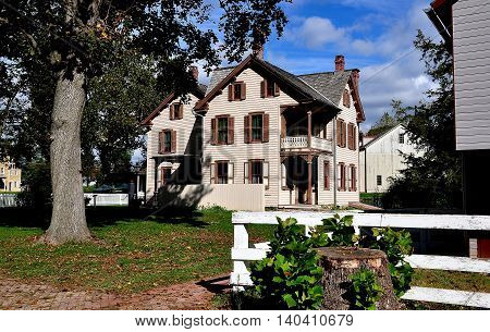 Lancaster Pennsylvania - October 14 2015: The Landis Brothers' House circa 1875 built in the Victorian style at the Landis Valley Village and Farm Museum