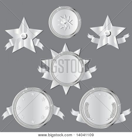 set of silver awards and medals