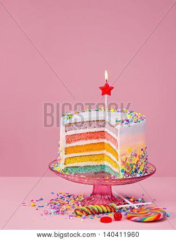 Rainbow Birthday Cake With Sprinkles