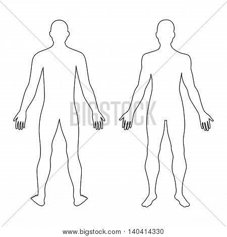 Fashion man's outlined template figure silhouette (front & back view) vector illustration isolated on white background