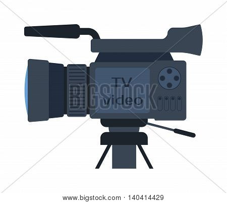 Cinema and video cameras isolated Camera movie making film creating isolated symbol digital equipment. New movie technology camera set vintage element sign film