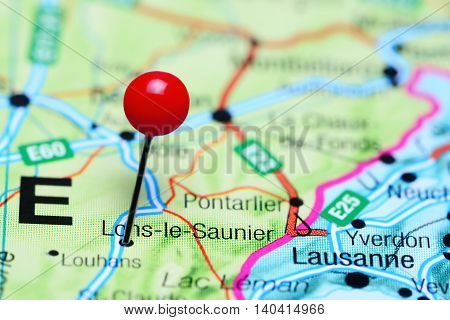 Lons-le-Saunier pinned on a map of France