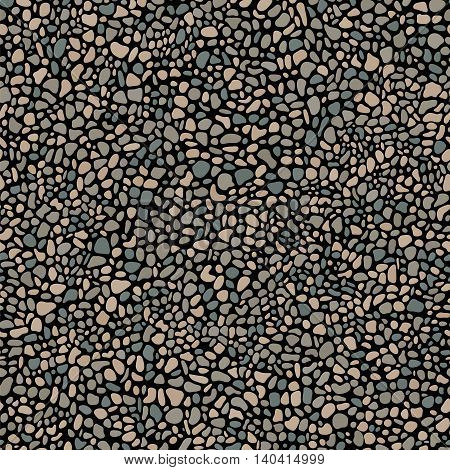 Pebble mosaic seamless pattern. Stone and rock vector background