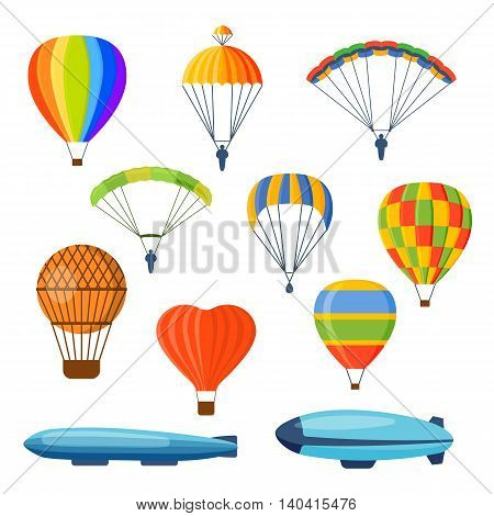 Illustration with different aerostats flat icons cartoon graphic. Modern balloon aerostat transport sky hot fly adventure journey and old vector air ballon travel transportation flight airship.