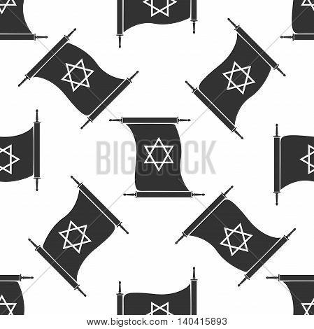 Star of David on scroll icon pattern on white background. Adobe illustrator