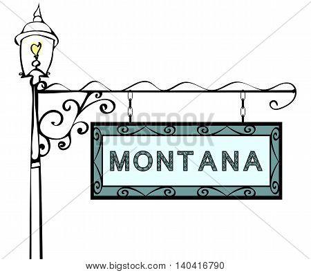 Montana retro pointer lamppost. Montana State America tourism travel.