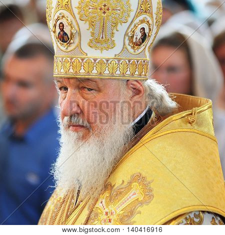 Orel Russia - July 28 2016: Russia baptism anniversary Divine Lutirgy. Patriarch Kirill in golden ceremonial mantle closeup