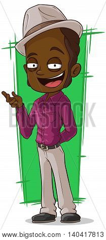A vector illustration of cartoon cool negro in violet shirt