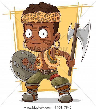A vector illustration of cartoon cool zulu warrior with axe
