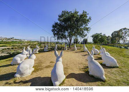 Cute Rabbit Statue At Newport Beach Park