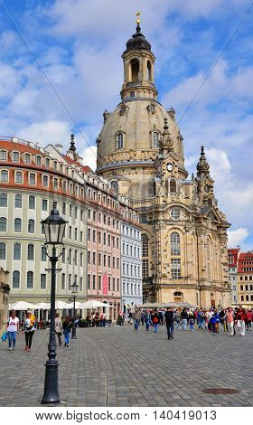DRESDEN GERMANY - JUNE 14: Cathedral and the town square of Dresden on June 14 2014. Dresden is the capital city of the Free State of Saxony in Germany.