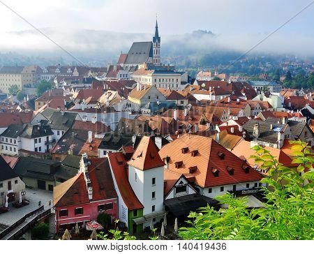 CESKY KRUMLOV CZECH REPUBLIC - AUGUST 1: Panorama of Cesky Krumlov historical centre on August 1 2014. Cesky Krumlov is a small city in the South Bohemian Region of the Czech Republic