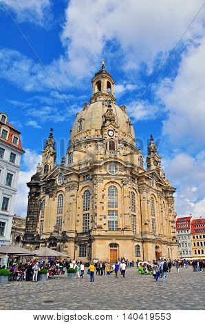 DRESDEN GERMANY - JUNE 14: Cathedral and the town square of Dresden on June 13 2014. Dresden is the capital city of the Free State of Saxony in Germany.
