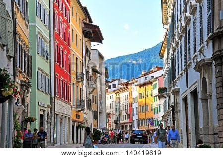 TRENTO ITALIA - JUNE 21: View of a pedestrian street in Trento on June 21 2014. Trento is a capital of province Trentino Alto in Italy.