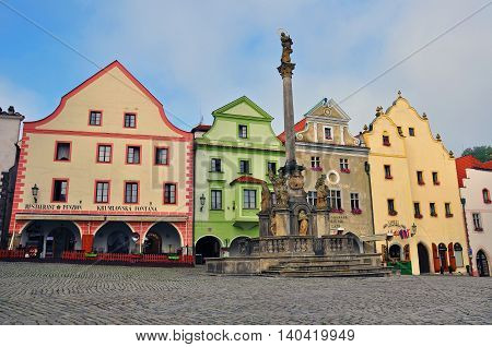 CESKY KRUMLOV CZECH REPUBLIC - AUGUST 1: View of a main square of Cesky Krumlov city centre on August 1 2014. Cesky Krumlov is a small city in the South Bohemian Region of the Czech Republic.