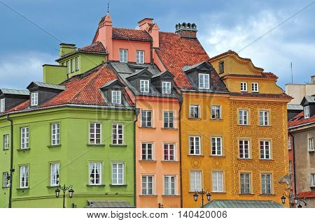 WARSAW POLAND - JUNE 13: View of the houses in Warsaw city centre on June 13 2014. Warsaw is a capital and largest city of Poland.