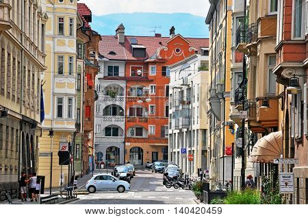 BOLZANO ITALY - JULY 20: View of a street in historical centre of Bolzano Italy on July 20 2014. Bolzano is a city in northern Italy the capital of Trentino Alto province.