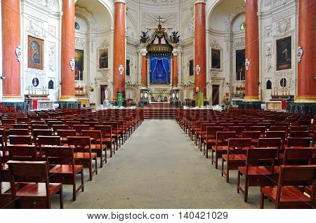 VALLETTA MALTA - FEBRUARY 17: Interior of Carmelite church in Valletta old town on February 17 2014. Valletta is a capital and the largest city of Malta.