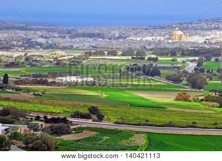 Maltese landscape. View from Mdina mediaval city