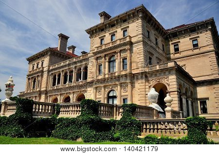 Newport Rhode Island - July 17 2015: The Breakers (1895) designed by Richard Morris Hunt for Cornelius Vanderbilt II as the family summer home is built in Italian Renaissance style *