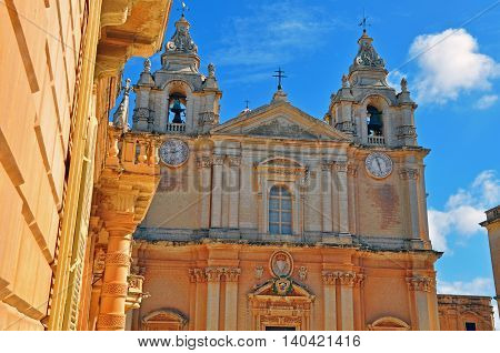 Saint Pauls cathedral in Mdina town, Malta