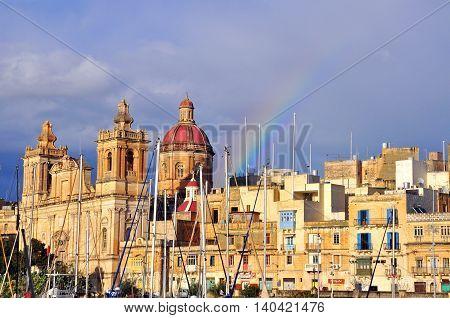 The rainbow in Birgu Citta Vittoriosa, Malta