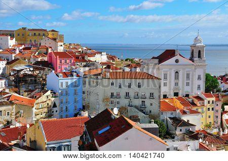 Daybreak in Alfama old district of Lisbon