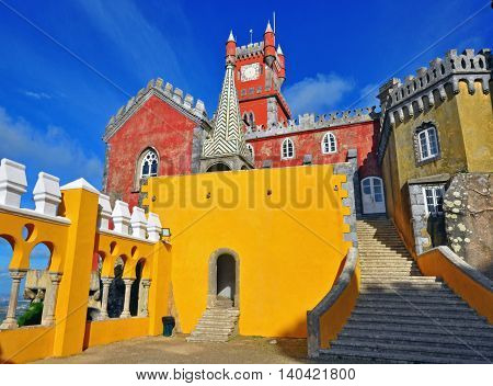 SINTRA PORTUGAL - NOVEMBER 9: The Pena National Palace in Sintra on november 9 2013. The palace is a UNESCO World Heritage Site and one of the Seven Wonders of Portugal.