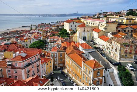 Panorama of Alfama old town, Lisbon, Portugal