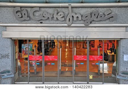 LISBON PORTUGAL - DECEMBER 20: Entrance of the major El Corte Inges store in Lisbon on december 20 2013. El Corte Ingles is a global spanish retail company.