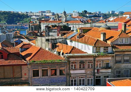 Top view of Porto down town, Portugal
