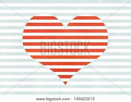 Red Watercolor Striped Heart On Watercolor Blue Stripes Background.