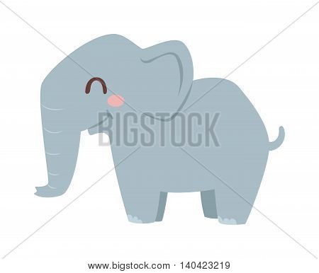 Cute little african elephant isolated on white. Elephant baby animal african zoo vector illustration. Nature mammal, trunk wildlife safari big african elephant. Large strong zoo animal character.