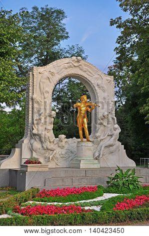 The Strauss monument in Vienna city, Austria