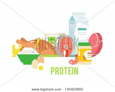 Food high in protein isolated on white. Proteins food healthy ingredient meat and raw group proteins food. Proteins food nutrition health fish organic eat cheese proteins food gourmet balance energy.