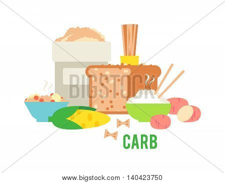 Carbs food isolated on white. Carbs food baked fresh healthy food. Carbs food bread diet meal healthy and rice loaf white carbs food. Bakery fresh eating carbs food ingredient dry spaghetti food.