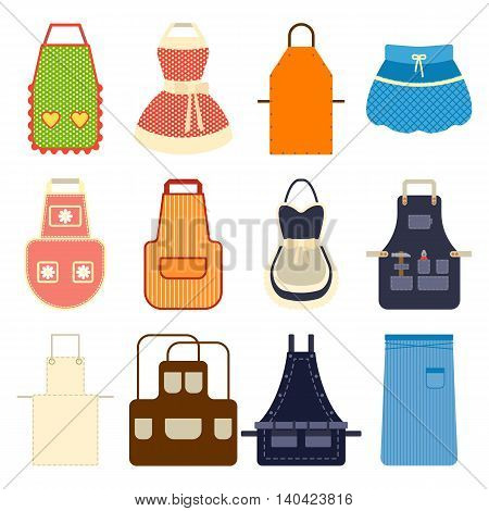 Kitchen apron set. Collection aprons on white. Female vector apron with stripes governess, housewives, mens apron, retro clothing, apron bremsstrahlung. Home accessory cotton pocket, barbecue textile.