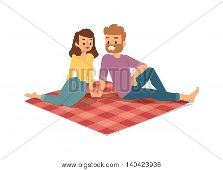 Young couple family picnicking summer happy lifestyle park outdoors together, enjoying vacation vector. Young couple family picnic vacation and summer family picnic. Happy couple picnic outdoors.