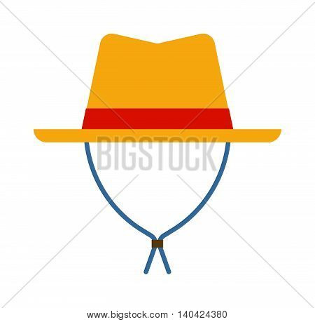 Sheriffs leather cowboy hat stetson accessory and western cowboy human hat. Sheriff cowboy brown costume. Leather cowboy sheriffs leather hat stetson western traditional clothing vector illustration