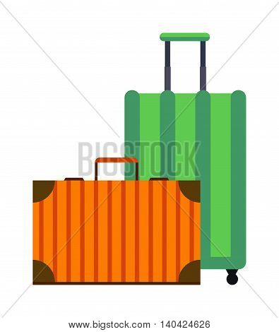 Large travel bag suitcase isolated on white and suitcase travel voyage. Travel suitcase handle baggage and suitcase tourist packing. Summer travel vacation bag isolated